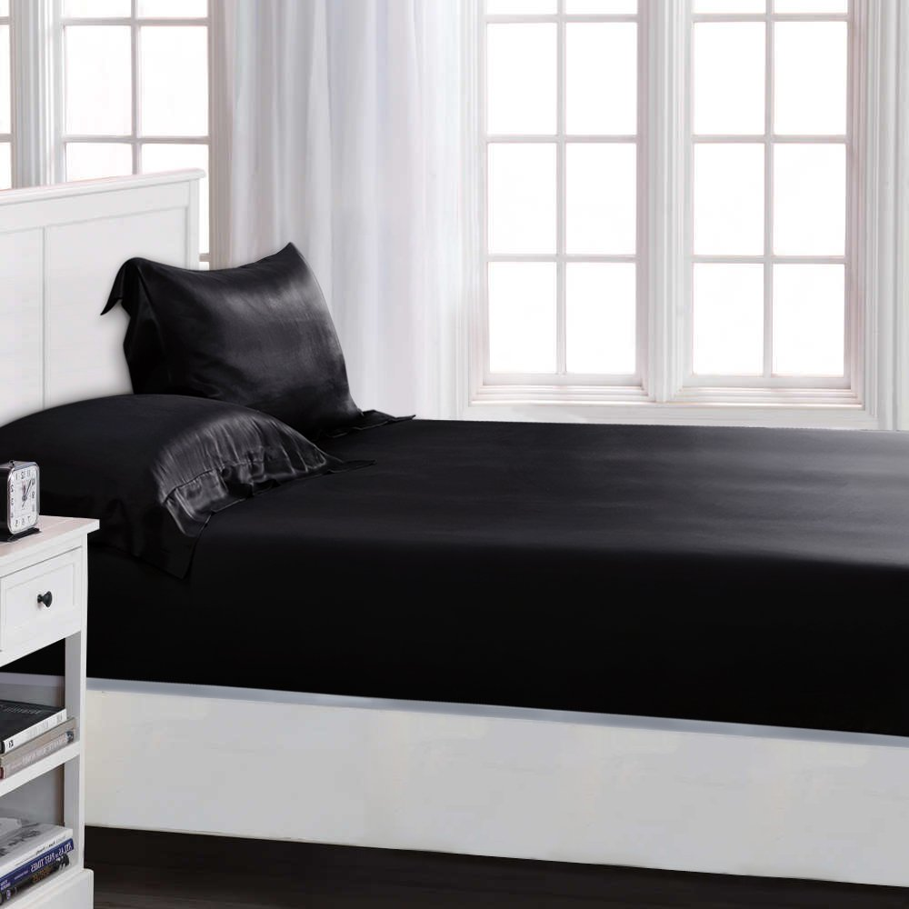 ELLESILK Silk Fitted Sheet, Silk Bed Sheets, 22 Momme, 100% Mulberry Silk, Luxurious and Extremely Durable, Queen, Black