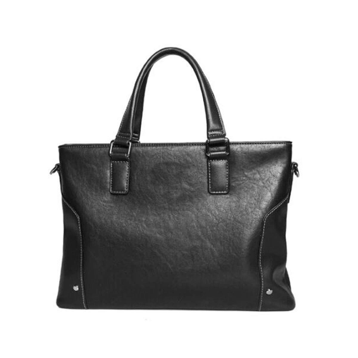 ブリーフケース、メンズビジネスカジュアル大容量ハンドバッグ、ブラックサイズ:38 * 7.5 * 27 cm B07R77Z4QR ブラック
