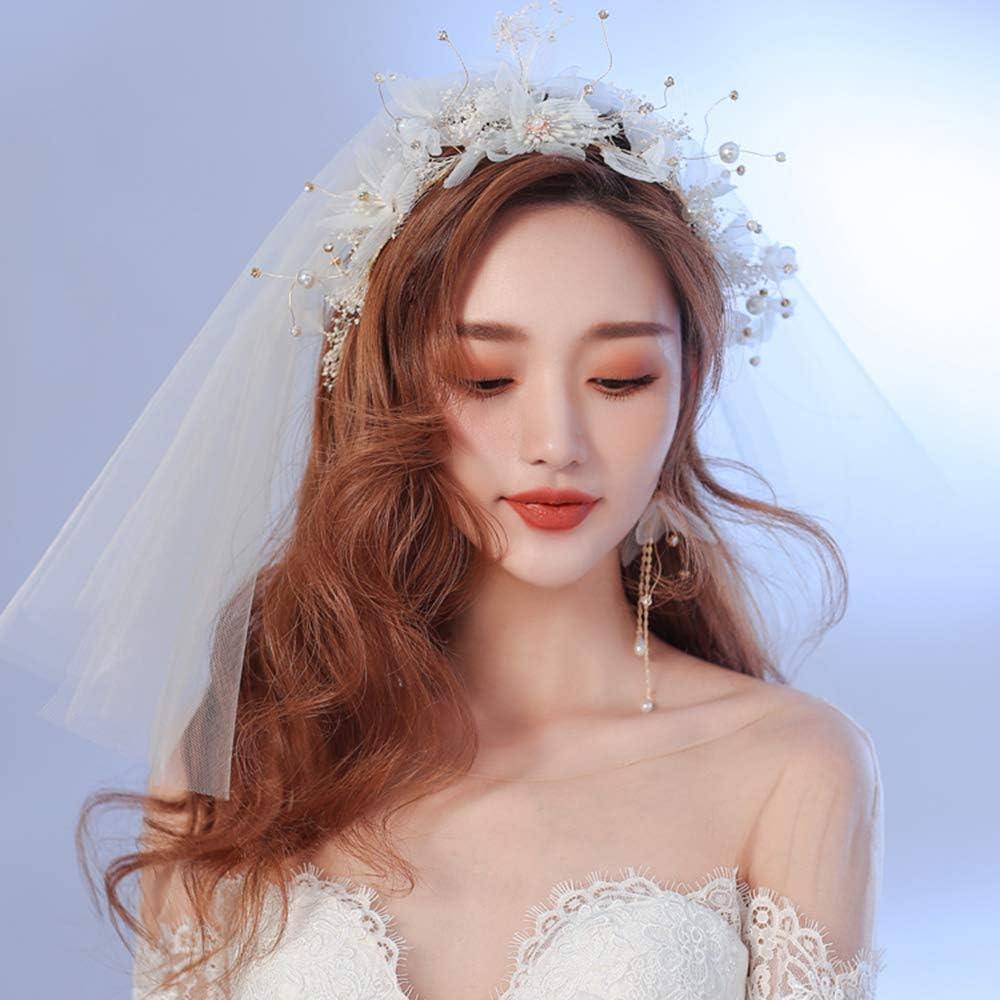 Velo Novia Largo,Boda Nupcial dresses accessories cathedral cape brides velos largos bridal party wedding veils encaje Conjunto de tres piezas con peineta,diadema perlas y pendientes,40cm,blanco