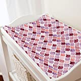 Carousel Designs Coral Watercolor Scales Changing Pad Cover - Organic 100% Cotton Change Pad Cover - Made in The USA