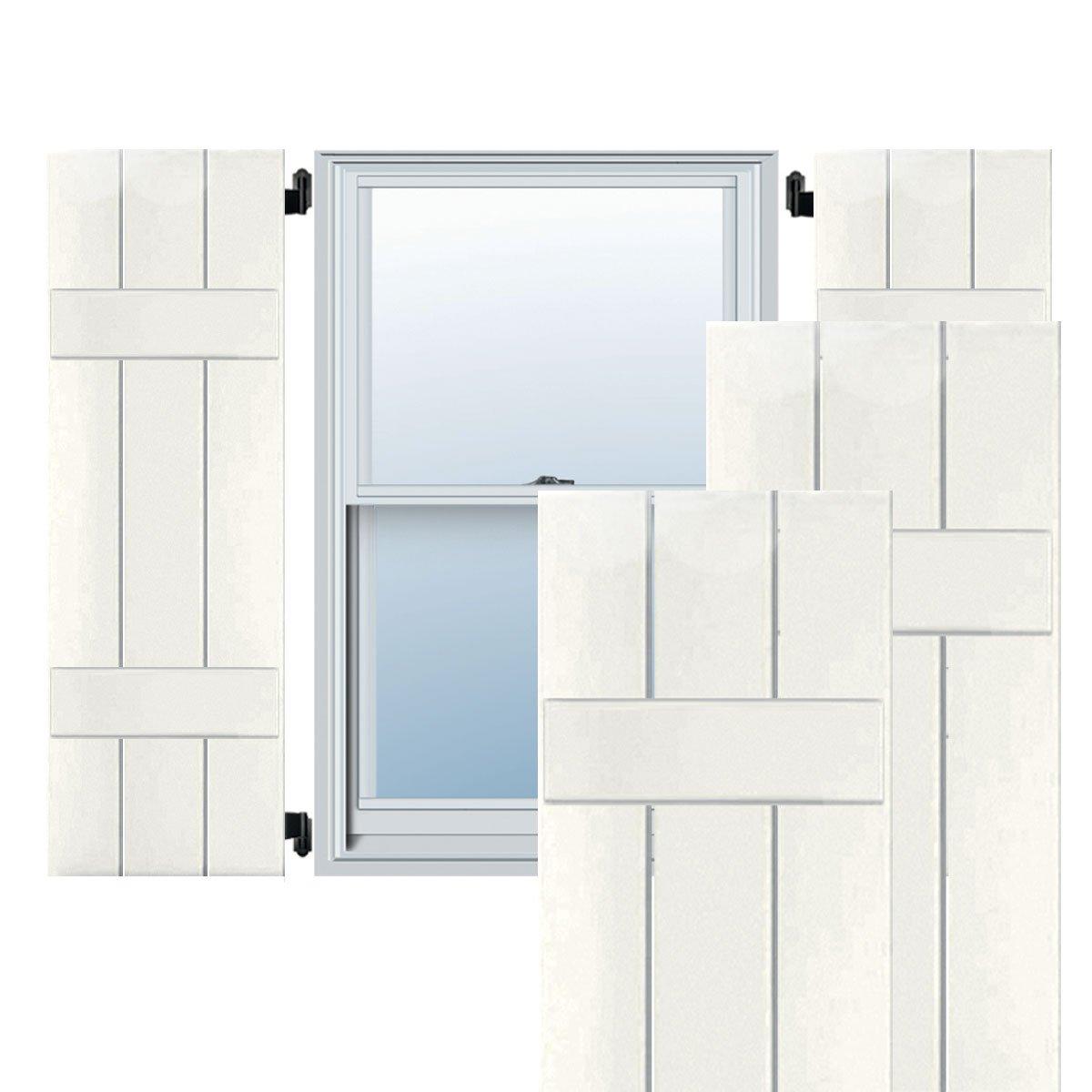 Per Pair Ekena Millwork EB0110500X033000WWH Exterior Western Red Cedar Three Board Two Batten Board-n-Batten Shutters White 10 1//2W x 33H 10 1//2W x 33H