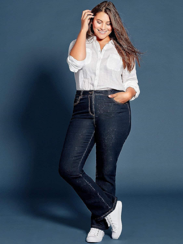 M/&Co Ladies Plus Size Cotton Stretch Indigo Denim Wash High Rise Bootcut Jeans Indigo 24 Regular