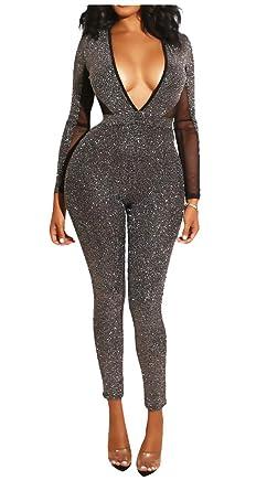 4e412c9177e Felivia Sexy Jumpsuits for Women Clubwear - Metallic Glitter Long Sleeve  Deep V Neck Backless Mesh