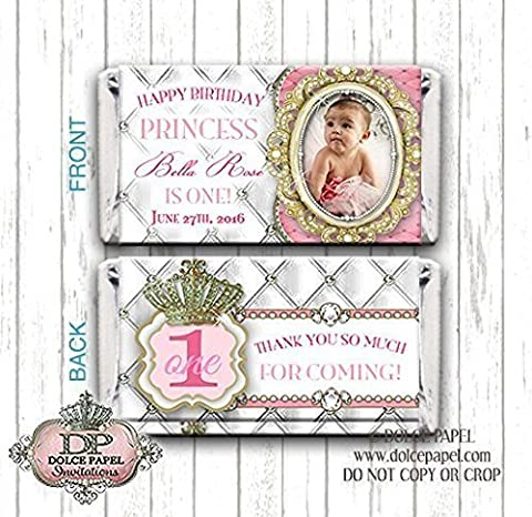 10 Diamond Pink Princess Diamonds and Pearls Pink and Gold Lavish Elegant Photo Frame 1st Birthday Party IANY AGE Tufted Background Birthday Happy Birthday Party Style Mini Hershey Candy Bar - Hersheys Mini Candy Bar Wrappers
