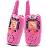 Walkie Talkies for Kids Girls Crony T-358 22 Channel Two-Way Radios With 3 Miles Range FRS/GMRS Handheld Mini Walkie Talkie Toys for Children (Pack of 2, Pink)