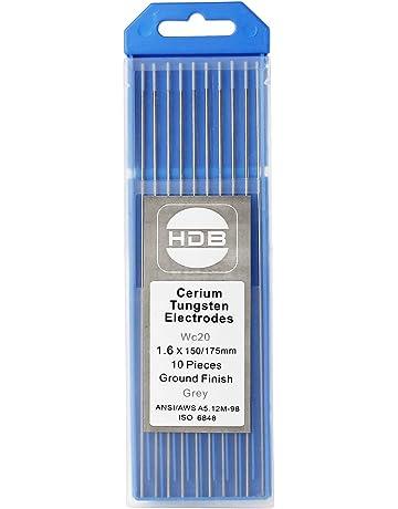 Topwill 10 x Electrodos de Tungsteno WC-20 Electrodos de Soldador 1.6 × 175mm Varillas
