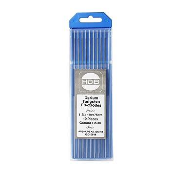 Topwill 10 x Electrodos de Tungsteno WC-20 Electrodos de Soldador 1.6 × 175mm Varillas de tungsteno para Soldadura (Gris): Amazon.es: Bricolaje y ...