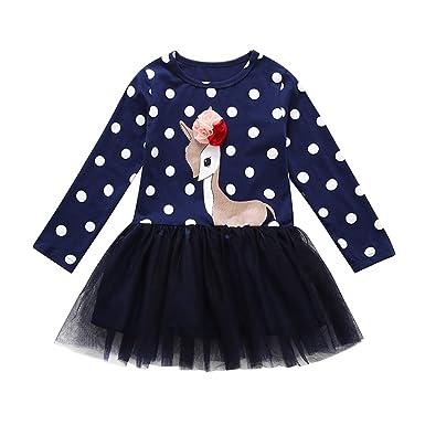 quality design 705bd d1e01 Kobay Kleinkind Baby Mädchen Kinder Kleidung Langarm Dot Deer Tops T-Shirt  Kleid