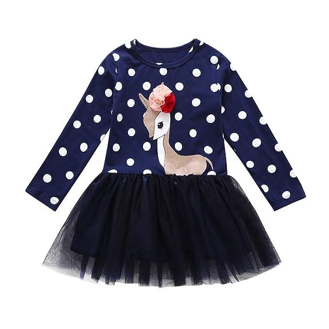 890292f6d Mitlfuny Primavera Verano Ropa Niñas Bebé Princesa Vestidos de Manga Larga  Tul Cosiendo Tutú Falda Dibujos