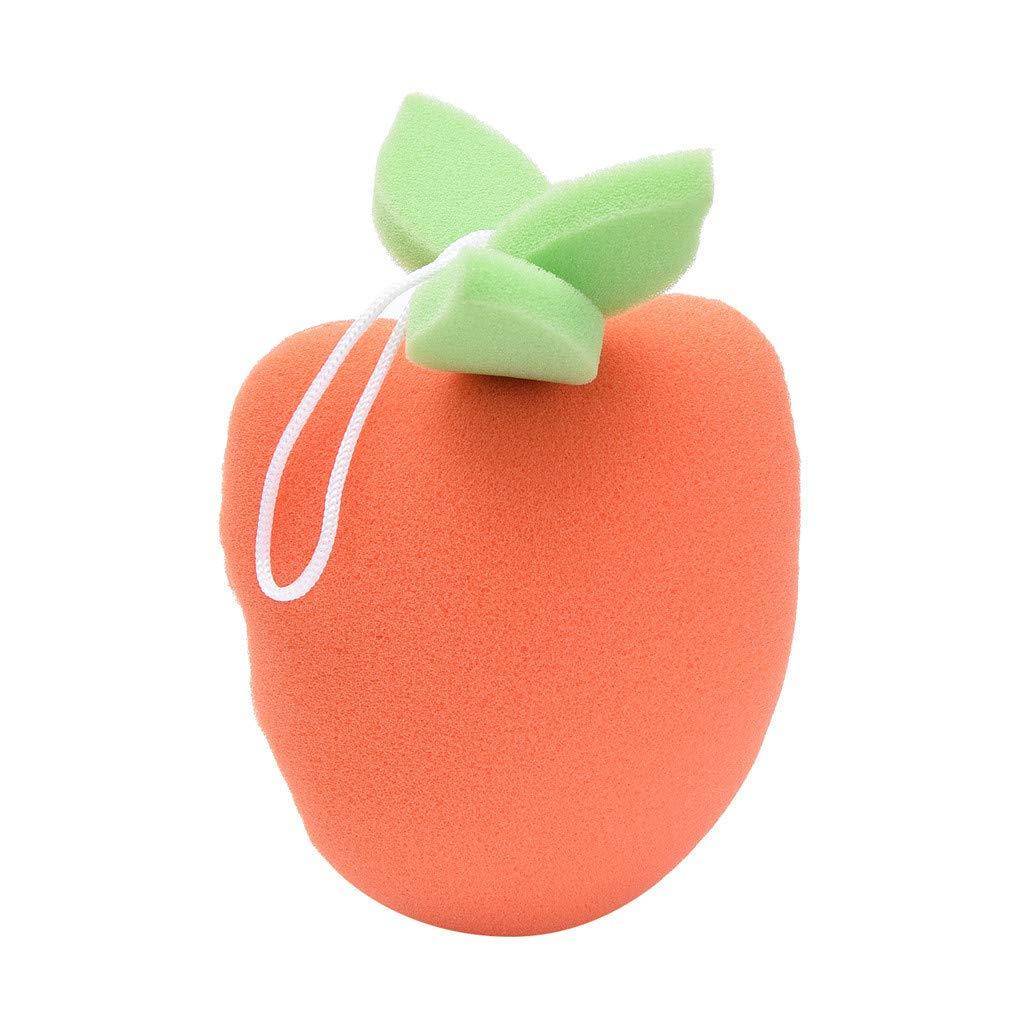 Denzar Bath Shower Sponge,Fresh Fruit Bath Shower Sponge for Baby,Brush Shower Ball Cute Bathd Sponge (Carrot-A)