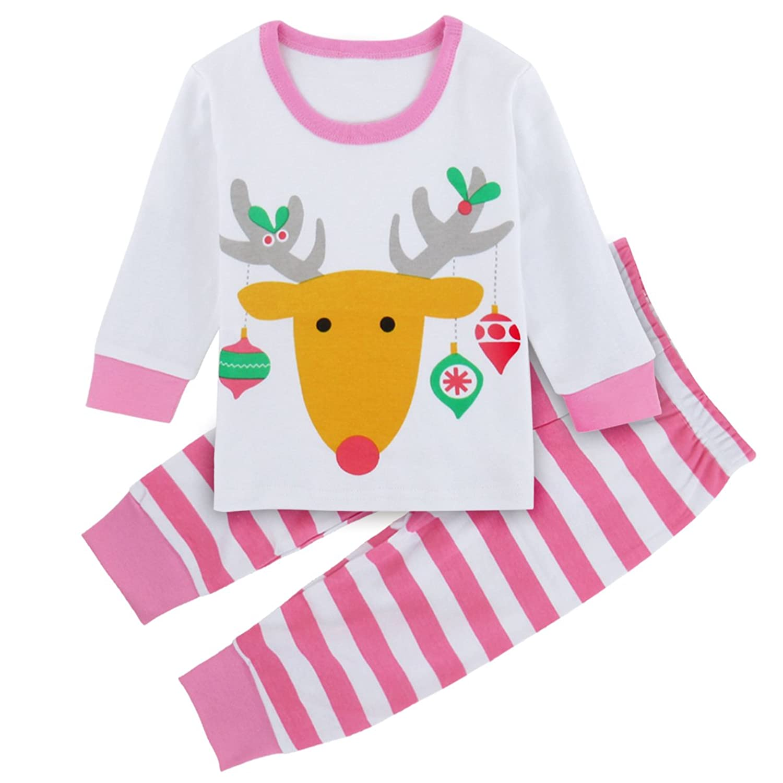 A&J Design Baby Little Girl's Christmas Elk Deer 2 Piece Set Pajamas (3T, Pink)