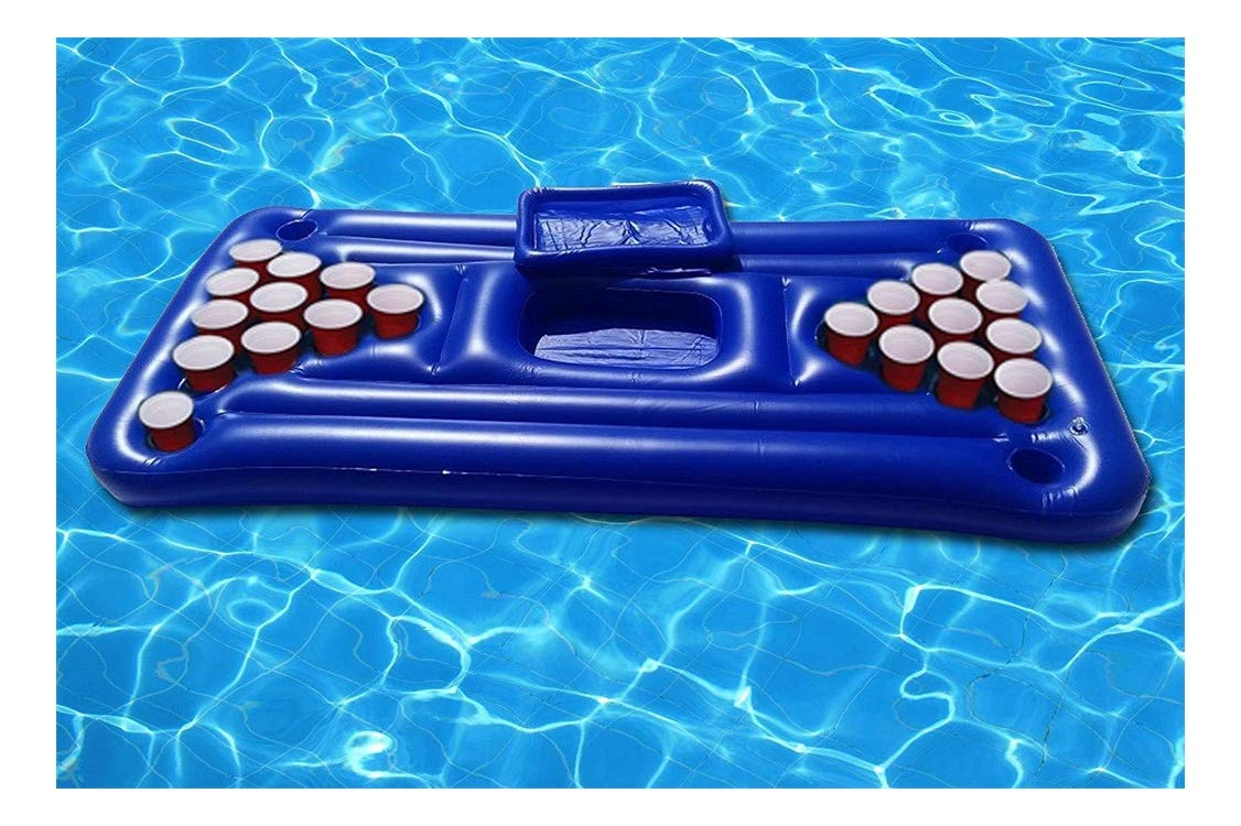 Jeeke Inflatable Serving Bar Beer 28 Cup Table Salad Ice Tray Food Drink Containers Floating Row Water Table Tennis Table Entertainment Ice Trough for Indoor Outdoor Swimming Pool Party (White - 2)