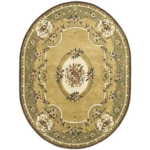 lection CL280A Handmade Traditional Oriental Light Gold and Green Wool Oval Area Rug (4'6