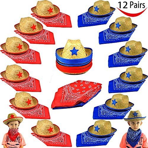 Pack of 12 Childs Straw Cowboy Hats with Cowboy Bandannas (6 red & 6 blue) Party (Cowboy Birthday Party Supplies)