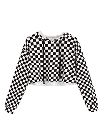 dfb43ce5b3d Girls Plaid Crop Tops Kids Cute Hoodies Casual Long Sleeves Pullover  Sweatshirts Spring Fall Clothes Size