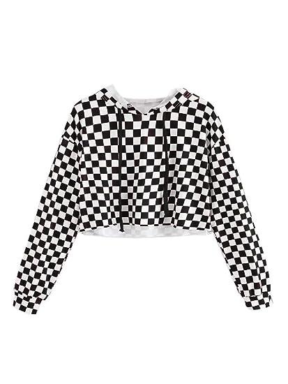 f2a8e4da1fc5f JUNNIOR Girls Plaid Hooded Crop Tops Cute Kids Long Sleeves Gingham  Checkered Sweatshirts Hoodies Tops Black