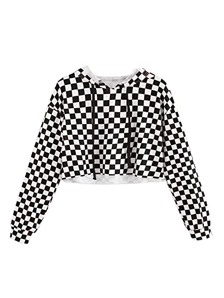 ef4696dda8437d KunLunMen Kids Crop Tops Girls Sweatshirts Long Sleeve Plaid Hoodies Black