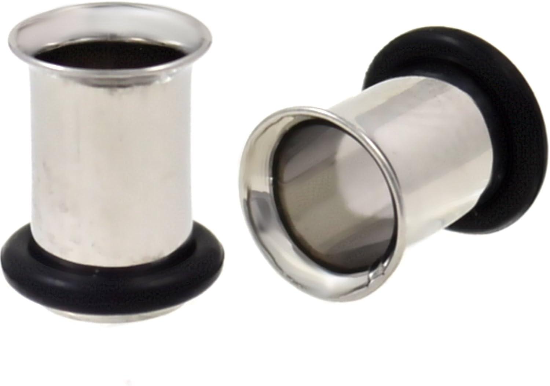 1 Pair 2g Steel Single Flared Tunnels Ear Plugs Eyelet