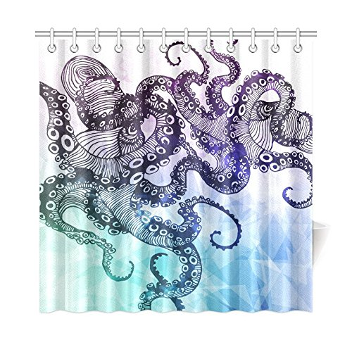 InterestPrint Hipster Octopus Custom Shower Curtain 72 X 72 Inches Waterproof Polyester Fabric Bathroom Sets Home Decor