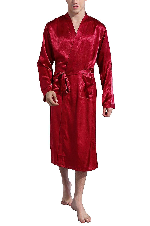 Dolamen Men's Dressing Gown Bathrobe Kimono Satin Long, Silky Soft & Lightweight Luxury Men's Kimono Dressing Gown Bath Robe Bridesmaid Housecoat Nightwear Pyjamas + Belt Pockets