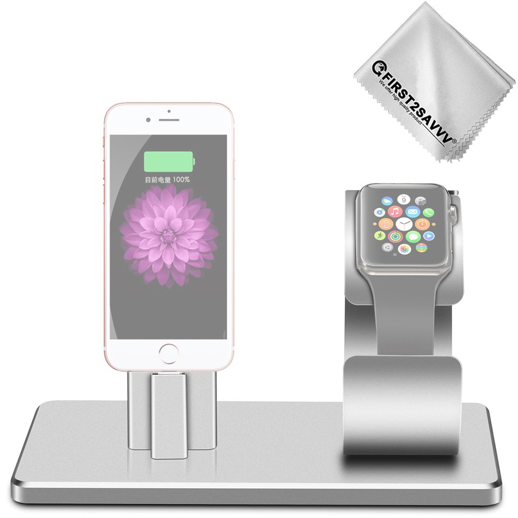 First2savvv Aluminum Alloy Charging Dock Stand Station Charger Cradle for Apple Watch 38 / 42mm, iPhone 8 7 / 7 Plus / 6S / 6S Plus iPad mini etc DOCK-SS-16