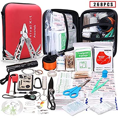 Aootek Upgraded First aid Survival Kit.Emergency Kit Earthquake Survival kit Trauma Bag for Car Home Work Office Boat Camping Hiking Travel or Adventures from Aootek