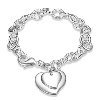 NYKKOLA Stunning Solid 925 Sterling Silver plated Beautiful Red Diamond Fashion Bracelet Chain