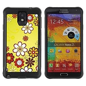 Suave TPU GEL Carcasa Funda Silicona Blando Estuche Caso de protección (para) Samsung Note 3 / CECELL Phone case / / Design Yellow Floral Flowers /
