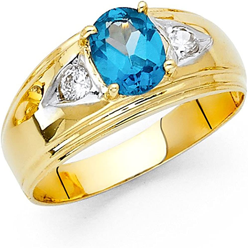 Jewels By Lux 14K Yellow Gold Cubic Zirconia CZ Mens Fashion Anniversary Ring