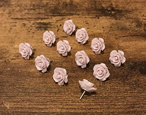 Character Push Pins - Decorative Rose Thumbtacks for Cork Boards, Unique Handmade Flower Push Pins are Ideal for Pinning Polaroid Photos, Bridal, Baby Showers Decors. Adorning Offices and Weddings - Set of 12. (Lavender)