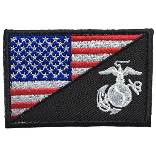 - SpaceCar USA American Flag w/Marine Corps USMC Military Tactical Morale Badge Patch 3