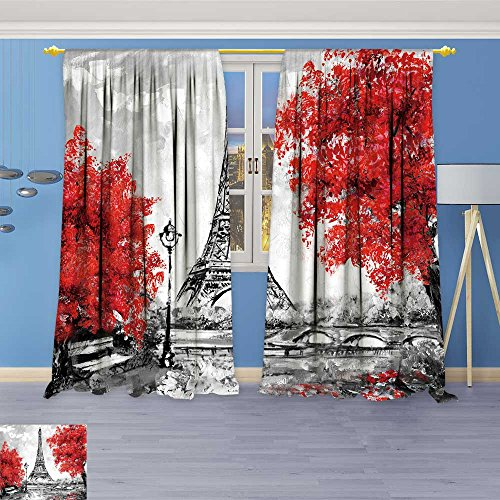 (SOCOMIMI Room Darkening Blackout Print Curtains -Oil Paint Paris European City Landscape France Wallpaper Eiffel Tower for Bedroom Living Room, 96W x 84L inch)
