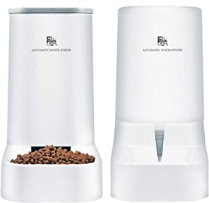 FUNLULA FUNLULA FUNLULA Pet Food Feeder and Water Feeder Self-Dispensing Gravity Automatic Dispenser Bundle Station Device Set for Large Middle Small Cats Dogs Kitten Puppy