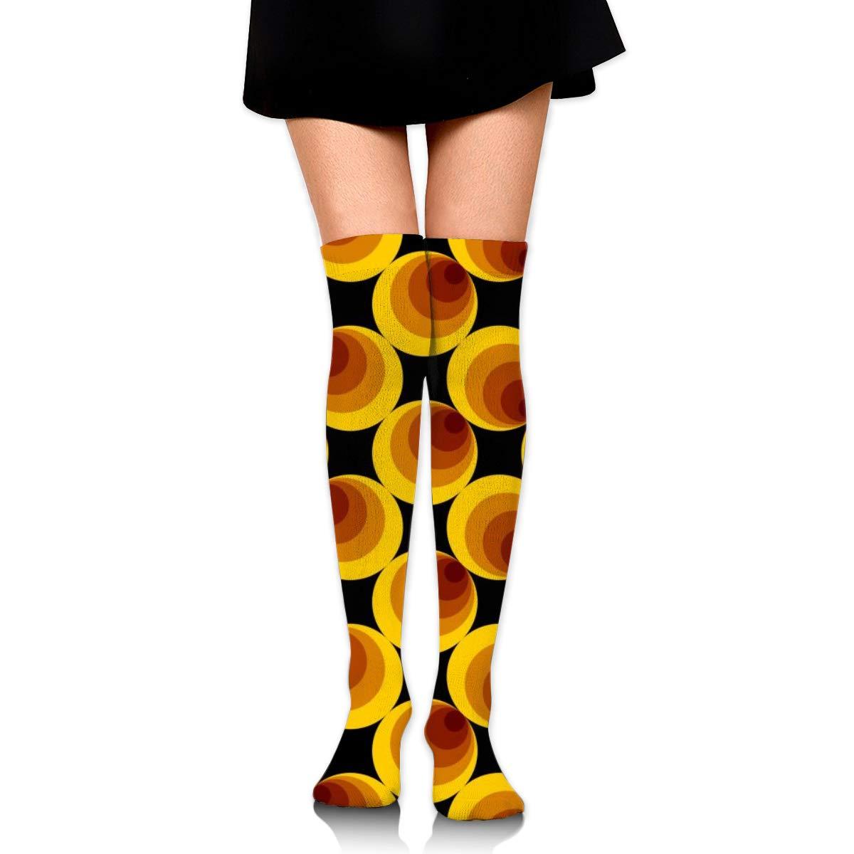 Women Crew Socks Thigh High Knee Yellow Circles Long Tube Dress Legging Casual Compression Stocking