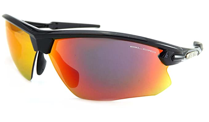 558be42de52 Bloc Fox Sports Sunglasses Polished Black with Red Mirror Lenses XR760   Amazon.co.uk  Clothing