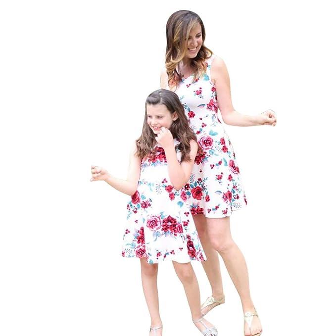 Strandkleid Mutter Tochter,LUCKDE Mutter-Tochter-Kleid Family ...