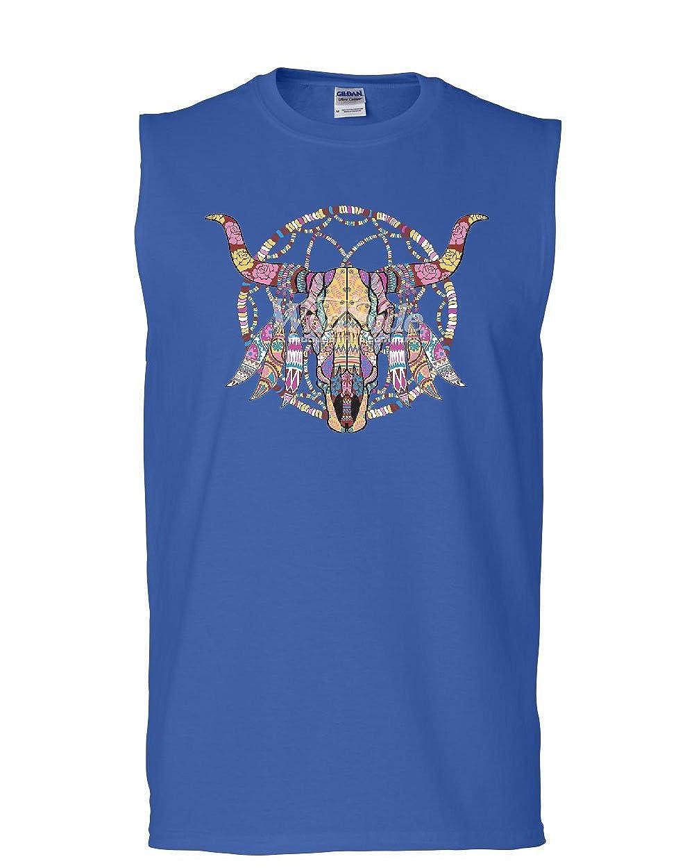 Tee Hunt Mosaic Art Dreamcatcher Cow Skull Muscle Shirt Tribal Nature Indian Sleeveless