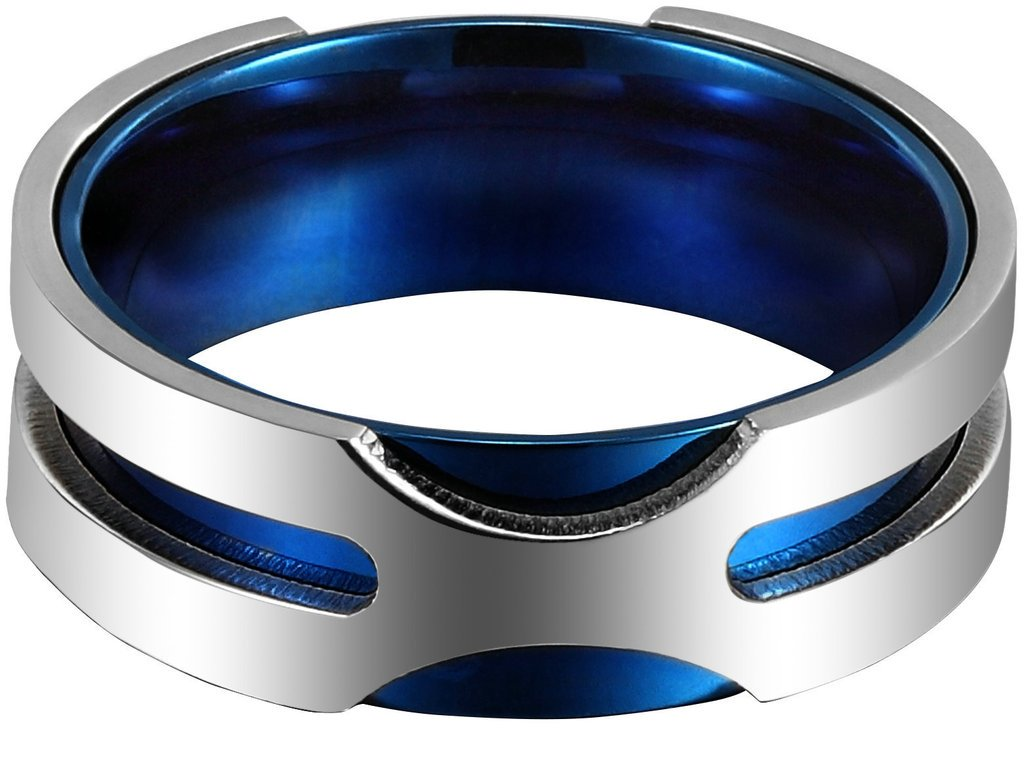 Aooaz 8MM Mens Stainless Steel Ring Wedding Band Blue Silver Rotatable Ring Jewelry Size 10