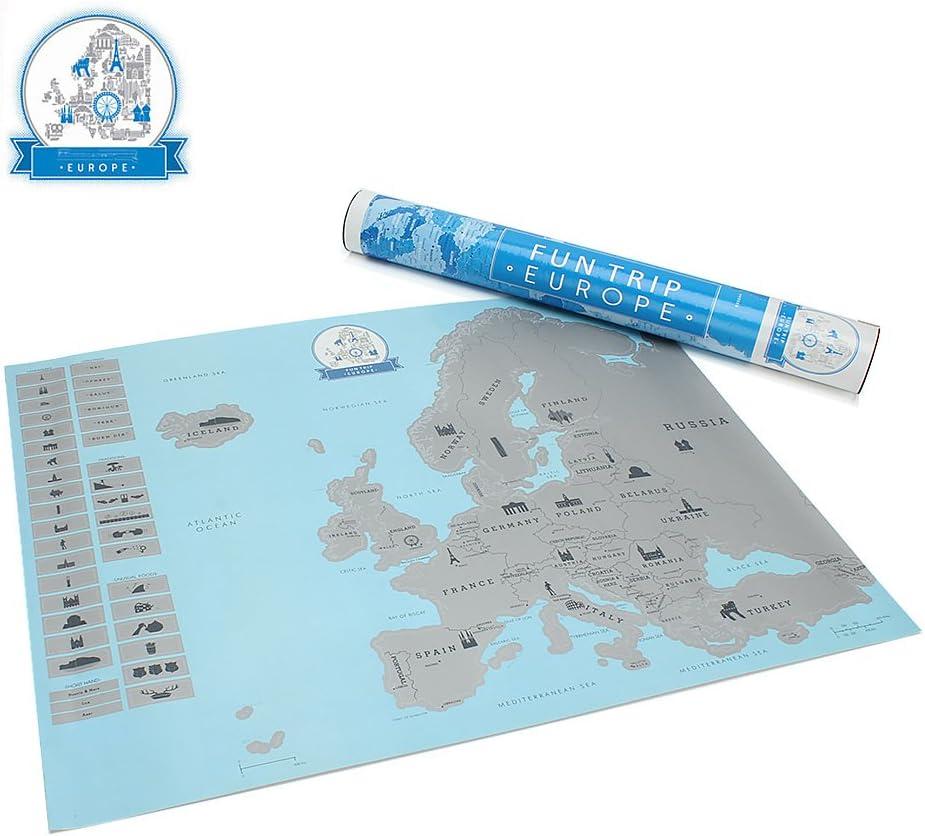 Cartina Geografica Scratch Map.Kyg Scratch Mappa Europa Da Grattare Design 55x43cm Da Parete Cartina Geografica Blu Amazon It Casa E Cucina