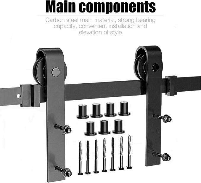 244 cm MUPAI Herraje para Puerta Corredera Kit,Accesorios para Puertas Correderas,Polea de Rail Suspendida Sistema de Puerta Granero,Ba/ño