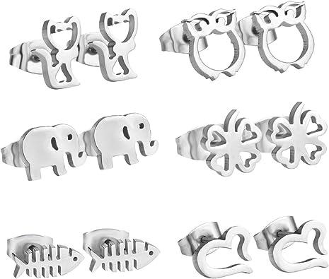 Pendientes para nina, diseno de buho, gato, forma de elefante,Pack ...