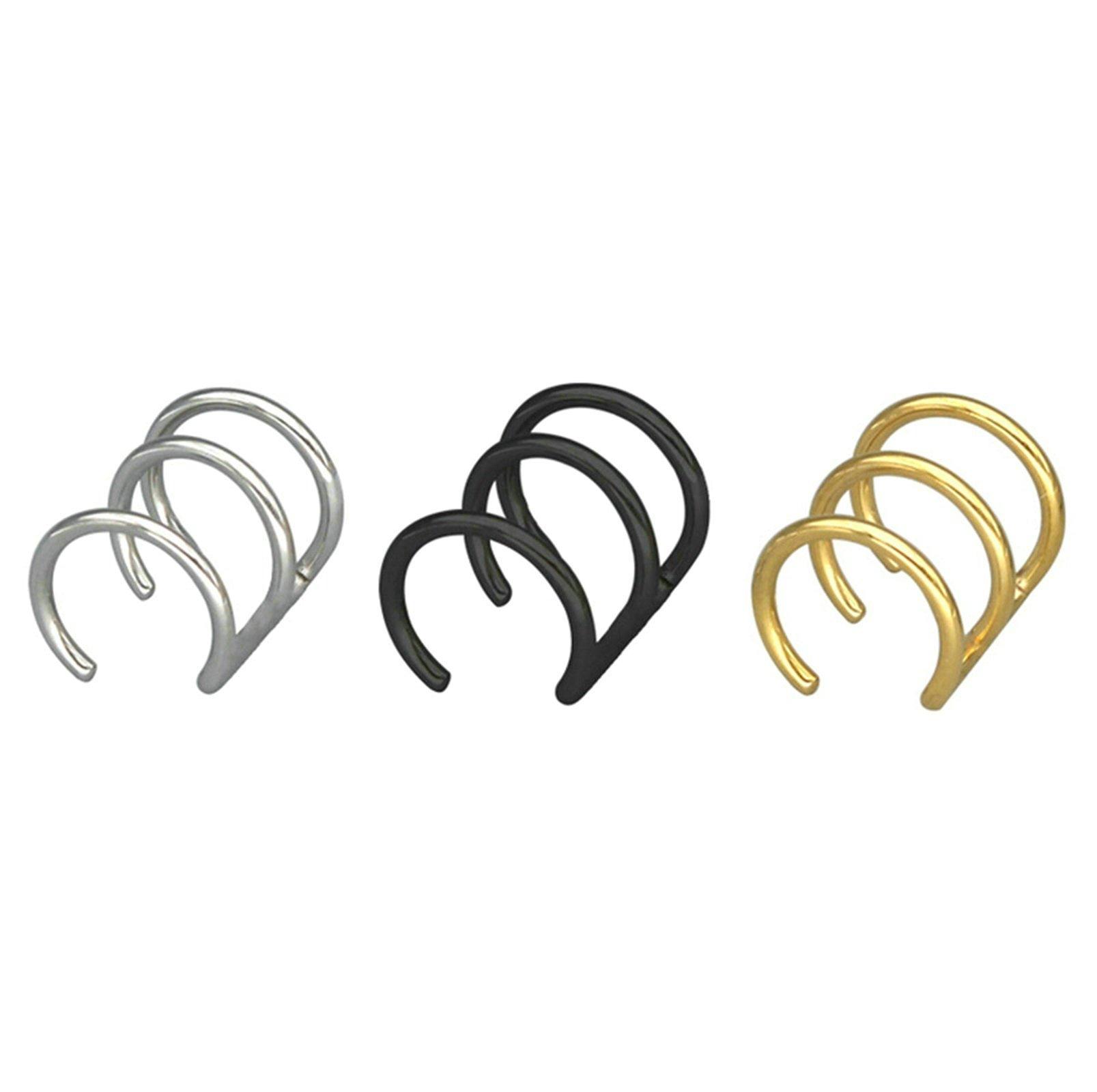 Aooaz 3Pcs Stainless Steel Ear Cuff Ear Stud for Men Women 3 Colors No Piercing