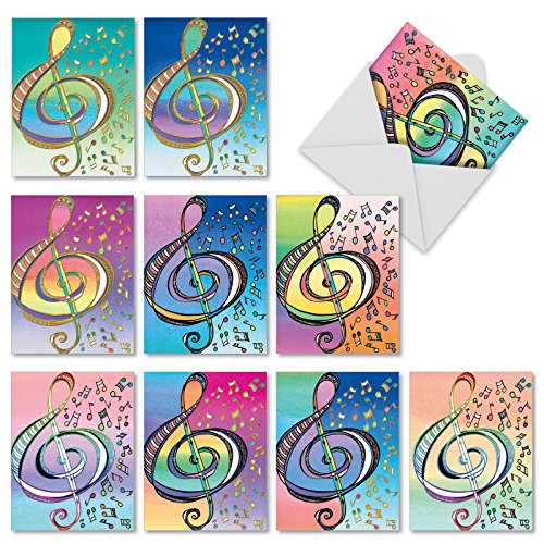 M2315 Design Tunes: 10 Assorted Thank You Folded Note Cards Feature Whimsical Musical Symbols, w/White (Angels Note Card)