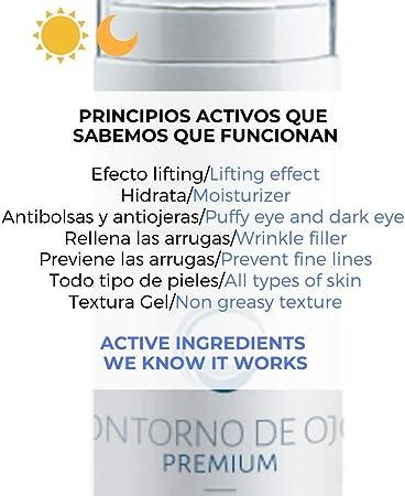Serum Contorno de Ojos Antiarrugas Antiojeras Antibolsas Efecto Lifting que Alisa e Ilumina - Con Hialuronico Gynseng Cafeína y Eyeliss - Farmaceutico - 30 ml