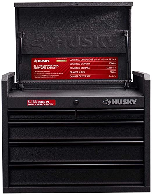 Amazon Com Husky 27 In 10 Drawer Roller Cabinet Tool Chest Combo Textured Black Home Improvement