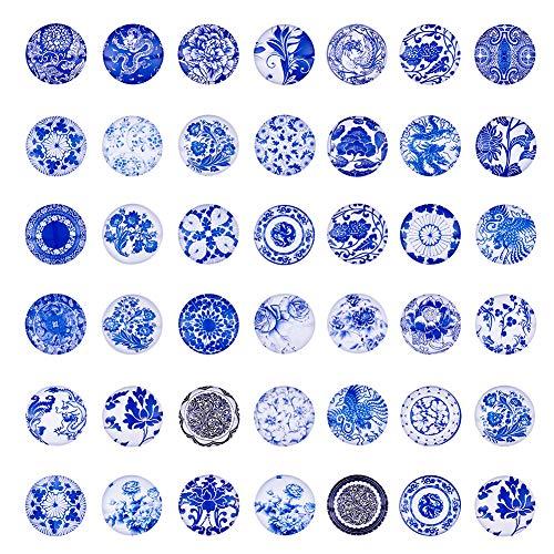 - Craftdady 100Pcs Blue White Flower Printed Flat Back Half Round Cabochons 25mm (1