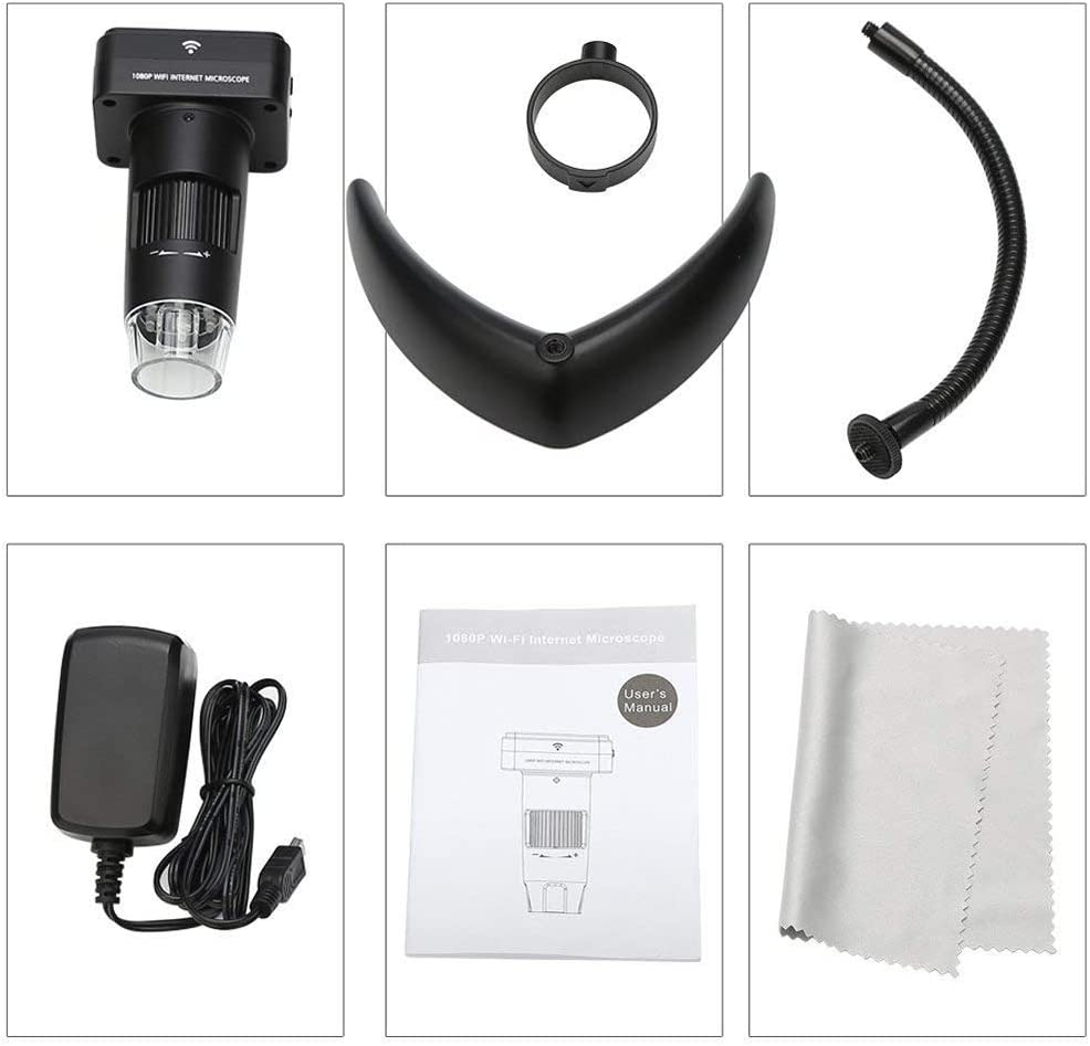 FANBEAR 1080P HD Wireless WiFi Digital Microscope,USB LED Microscope Digital Camera,10X-200X,800mAh Battery Camera,for Android and iOS Smartphones,iPhone,Samsung,Etc,2packs