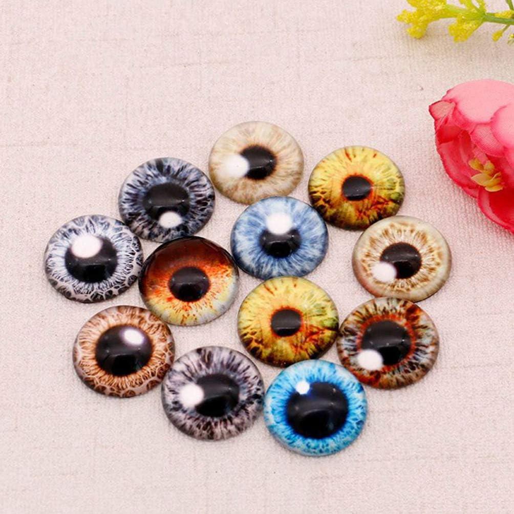 NUOBESTY 100pcs Acrylic Animal Eyes Dragon Eyes Acrylic Eye Cabochons Doll Toy Eyes for DIY Crafts Scrapbooking Jewelry Making 8mm