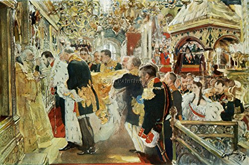 (SEROV CORONATION EMPEROR NICHOLAS II USPENSKY CATHEDRAL ARTIST PAINTING CANVAS)