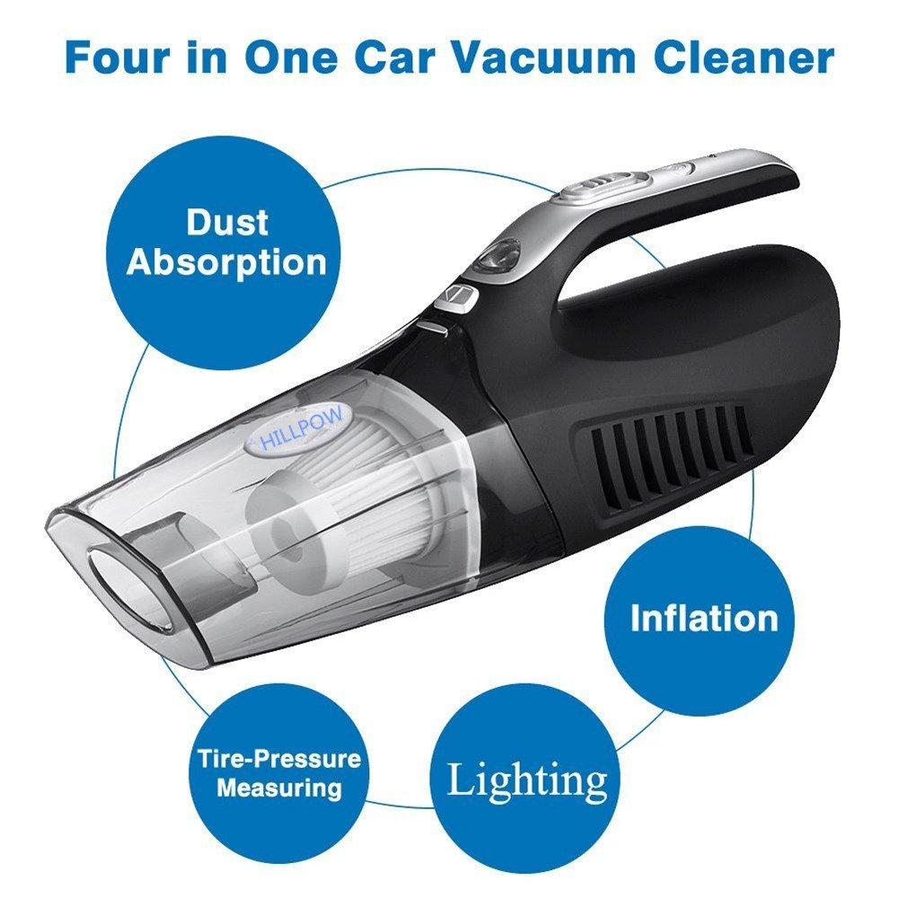 HILLPOW 4 en 1 Wet / Dry Vacuum Handheld Auto voiture 12V 100W Vacuum Portable Duster Cleaner super aspiration avec manom¨ ¨ tre de la pression des pneus gonfleur de pneus et LED-Noir VE0000ZY6601ABK001